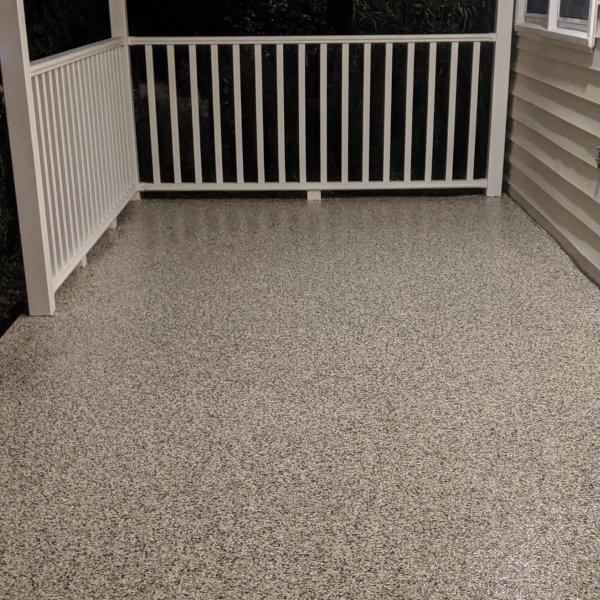 porch using epoxy flake