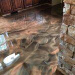 kitchen with metallic epoxy floor
